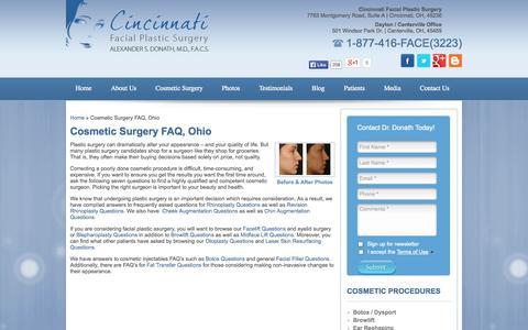 Screenshot of FAQ Page cincyfacialplastics.com - Dr. Donath Answers Plastic Surgery FAQ in Cincinnati, OH - captured Oct. 2, 2014
