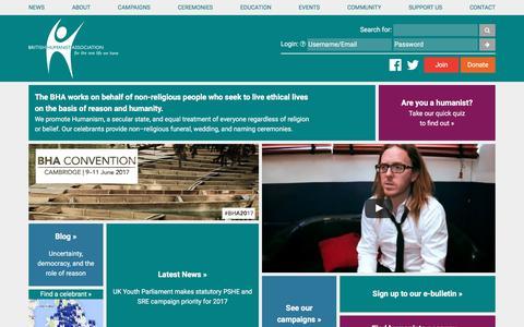 Screenshot of Home Page humanism.org.uk - British Humanist Association: The BHA - captured Nov. 17, 2016