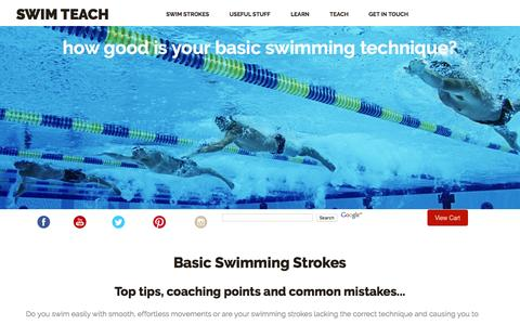 Screenshot of Home Page swim-teach.com - Basic Swimming Strokes Broken Down And Made Easy - captured Feb. 16, 2016