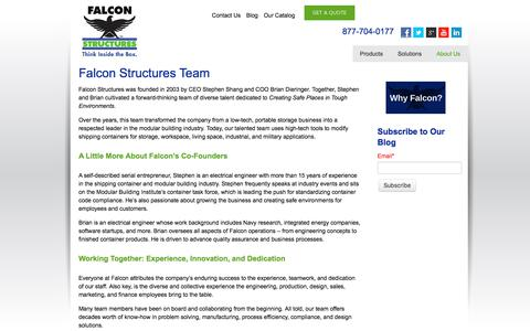 Screenshot of Team Page falconstructures.com - Falcon Structures Team | Stephen Shang | Brian Dieringer - captured Jan. 9, 2018