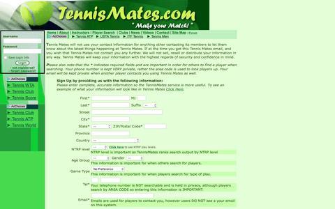 Screenshot of Signup Page tennismates.com - Add Member - captured June 13, 2016