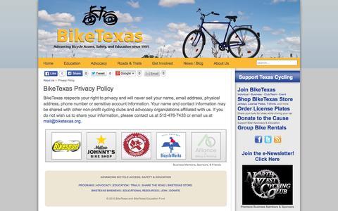 Screenshot of Privacy Page biketexas.org - BikeTexas Privacy Policy   BikeTexas - captured Jan. 3, 2016
