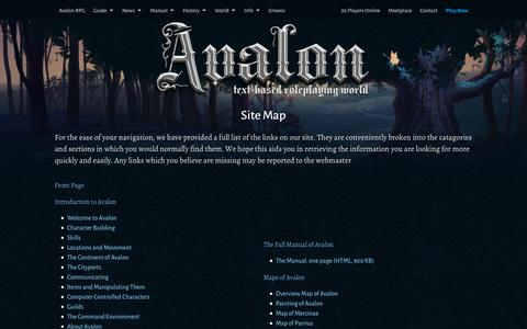 Screenshot of Site Map Page avalon-rpg.com - Sitemap | Text Based Games - captured Feb. 6, 2016