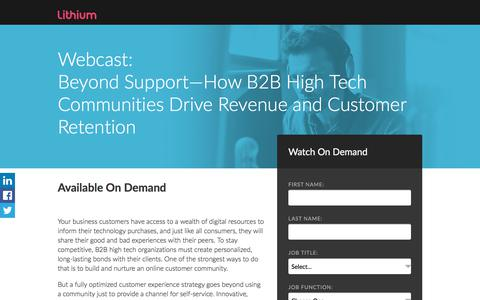 Screenshot of Landing Page lithium.com - Beyond Support—How B2B High Tech Communities Drive Revenue and Customer Retention - captured Sept. 20, 2017