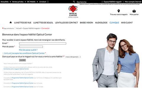 Screenshot of Login Page optical-center.fr - Lunettes, Lunettes de vue, lunettes de soleil et  lentilles de contact sont chez votre Opticien en ligne le moins cher d'Europe - Optical Center - captured Aug. 19, 2019