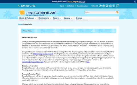 Screenshot of Privacy Page cheapcaribbean.com - Cheap Caribbean | CheapCaribbean.com Privacy Policy - captured Sept. 18, 2014
