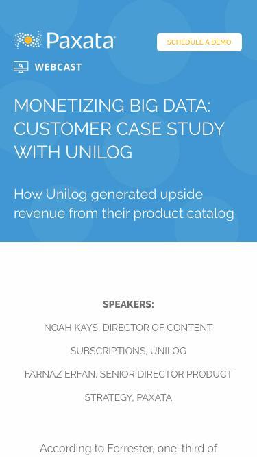 Monetizing Big Data: Customer Case Study with Unilog