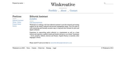 Screenshot of Jobs Page winkreative.com - Editorial Assistant   Winkreative - captured Nov. 3, 2014