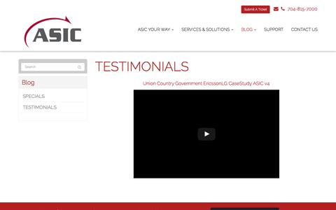 Screenshot of Testimonials Page asicllc.com - TESTIMONIALS - Matthews, Charlotte, Indian Trail | ASIC - captured May 28, 2017
