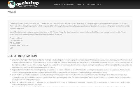 Screenshot of Privacy Page geekatoo.com - Geekatoo - captured July 19, 2014