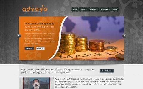 Screenshot of Home Page advaya.com - Advaya Investment Management | Home - captured Oct. 1, 2014