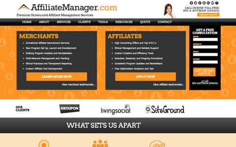 Screenshot of Home Page affiliatemanager.com - Affiliate Manager | Premium Outsourced Affiliate Management Services - captured Sept. 19, 2014