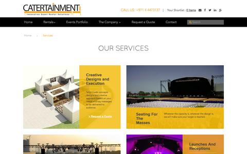 Screenshot of Services Page catertainment.com - Services | What we can do for youFurniture rental for events in UAE - captured Oct. 28, 2014