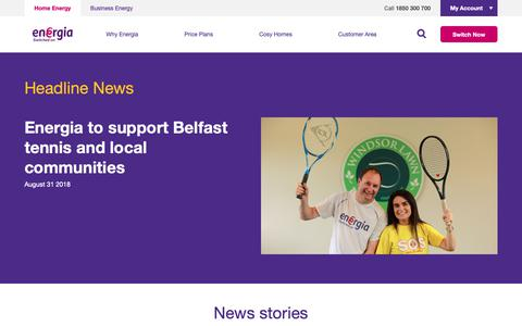 Screenshot of Press Page energia.ie - News - Energia - captured Sept. 28, 2018