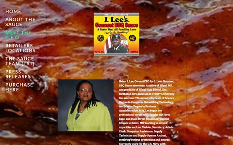 Screenshot of About Page jleessauce.com - Meet The C.E.O — J. Lee's Gourmet BBQ Sauce - captured Oct. 3, 2014