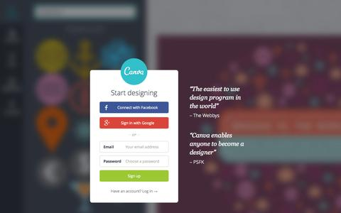 Screenshot of Home Page canva.com - Amazingly Simple Graphic Design Software – Canva - captured June 19, 2015