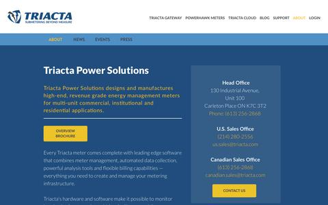 Screenshot of About Page Contact Page triacta.com - Triacta Power Solutions - captured Oct. 19, 2018