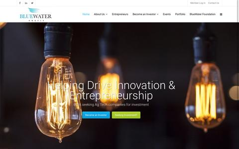 Screenshot of Home Page bluewaterangels.com - BlueWater Angels | Helping Drive Innovation & Entrepreneurship - captured July 29, 2016
