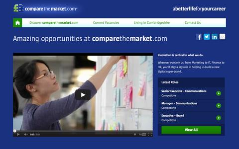 Screenshot of Jobs Page comparethemarket.com - Amazing opportunities at comparethemarket.com - Careers with Compare the Market - captured Sept. 18, 2014