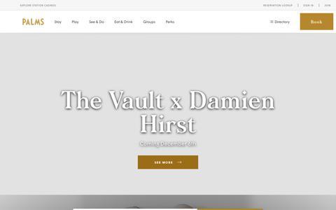 Screenshot of Home Page palms.com - Palms Casino Resort - captured Nov. 26, 2019