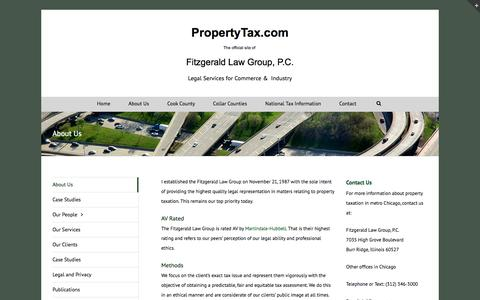 Screenshot of About Page propertytax.com - About Us - Fitzgerald Law Group, P.C. - captured Feb. 2, 2016