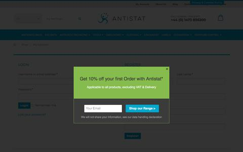 Screenshot of Login Page antistat.co.uk - My Account - Antistat ESD Protection - captured July 30, 2018
