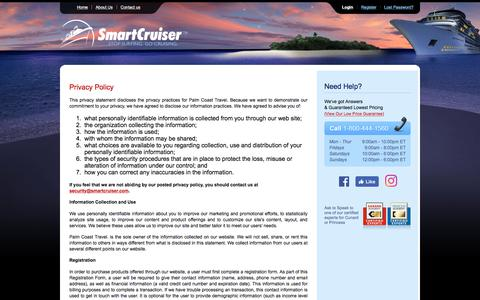 Screenshot of Privacy Page smartcruiser.com - SmartCruiser — A Discount Cruise Site featuring Discount Cruises and Cruise Deals - captured Oct. 22, 2017
