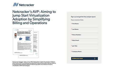Screenshot of Landing Page netcracker.com - Netcracker's AVP: Aiming to Jump Start Virtualization Adoption by Simplifying Billing and Operations - captured April 1, 2018