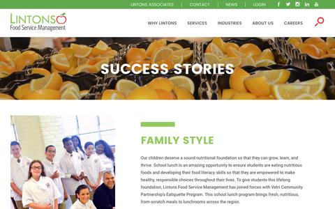 Screenshot of Case Studies Page lintonsfoodservice.com - Success Stories | Lintons Food Services - captured Sept. 29, 2018