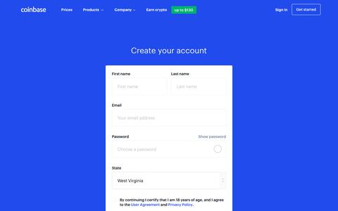 Screenshot of Signup Page coinbase.com - Buy/Sell cryptocurrency - Coinbase - captured Sept. 21, 2019