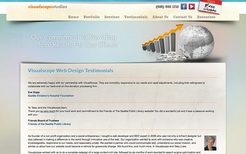 Screenshot of Testimonials Page visualscope.com - Seattle Web Design Testimonials & Case Studies - captured Sept. 25, 2014