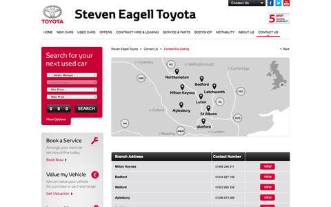 Screenshot of Contact Page steveneagelltoyota.co.uk - Contact Us - Listing - captured Oct. 7, 2014