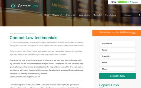 Screenshot of Testimonials Page contactlaw.co.uk - Contact Law | Find a solicitor in the UK - captured Aug. 20, 2019