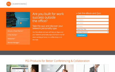Screenshot of Landing Page pgi.com - Telecommuting | PGi - captured March 23, 2017