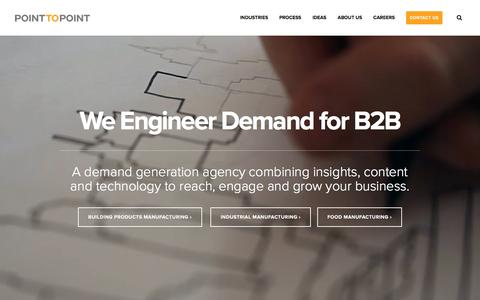 Screenshot of Home Page pointtopoint.com - B2B Demand Generation Agency | Point To Point - captured Nov. 7, 2016