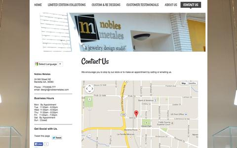 Screenshot of Contact Page noblesmetales.com - Nobles Metales - Contact Us - captured Oct. 26, 2014