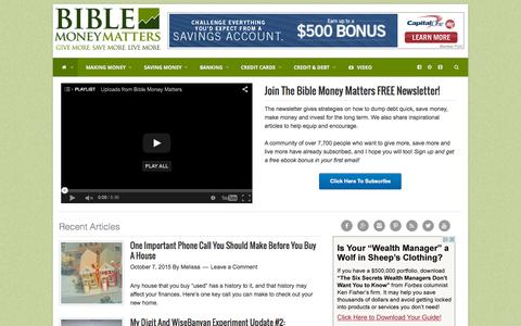 Screenshot of Home Page biblemoneymatters.com - Bible Money Matters | Christian personal finance - captured Oct. 7, 2015
