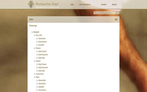 Screenshot of Site Map Page zapf.at - Sitemap - Hutmacher Zapf - captured Oct. 3, 2014