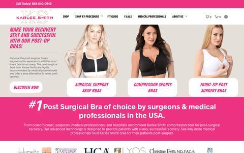 Screenshot of Home Page karleesmith.com - Compression & Surgical Bras - Karlee Smith - captured Sept. 20, 2018