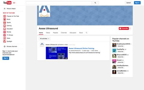 Screenshot of YouTube Page youtube.com - Axess Ultrasound  - YouTube - captured Oct. 23, 2014
