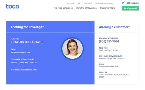 Screenshot of Contact Page tocowarranty.com - Vehicle Protection | Learn About Our Service Contracts | Toco - captured Sept. 22, 2014