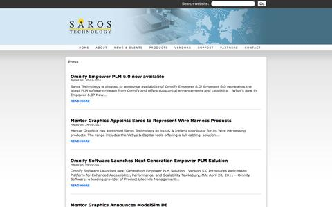 Screenshot of Press Page saros.co.uk - Saros - HDL, PCB and IC Design Tool solutions for the electronics design community - captured Oct. 3, 2014