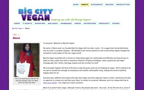 Screenshot of About Page bigcityvegan.com - Big City Vegan About Page - captured Sept. 19, 2014