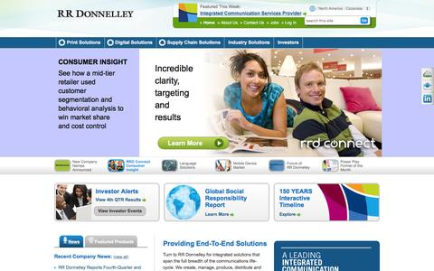 Screenshot of Home Page rrdonnelley.com - Print, Digital and Supply Chain Solutions | RR Donnelley - captured Feb. 25, 2016
