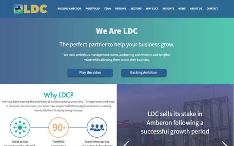 Screenshot of Home Page ldc.co.uk - Private Equity Investment for the Mid-Market | LDC - captured Dec. 7, 2018