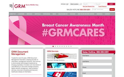 Screenshot of Home Page grmdocumentmanagement.com - GRM Document Management & Storage - captured Oct. 10, 2014