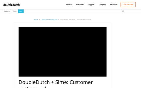 Screenshot of Testimonials Page doubledutch.me - DoubleDutch + Sime: Customer Testimonial - captured April 13, 2018
