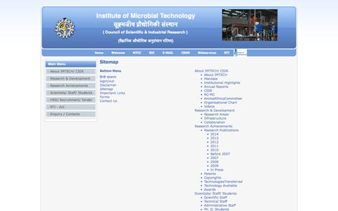 Screenshot of Site Map Page imtech.res.in - Sitemap - captured Oct. 30, 2014