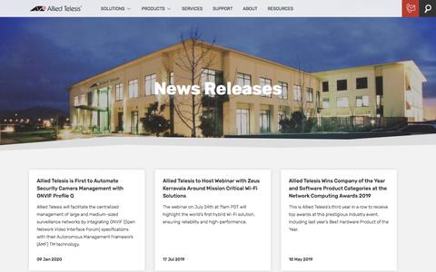 Screenshot of Press Page alliedtelesis.com - Newsroom | Allied Telesis - captured Jan. 23, 2020