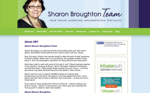 Screenshot of About Page sharonbroughtonteam.com - About SBT    Sharon Broughton Team   About SBT   Your Online Marketing Implementation Specialists and Certified Online Business Manager - captured Sept. 30, 2014